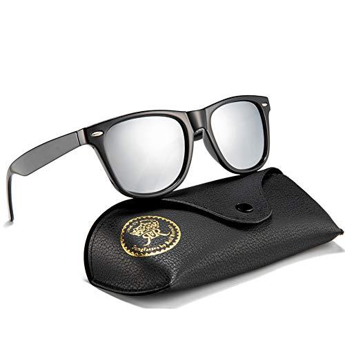 Rocf Rossini Polarisiert Herren Sonnenbrille für Damen klassisch Retro Sonnenbrillen Männer und Frauen Vintage Anti Reflexion UV400 Schutz - Unisex (Schwarz/Silber)