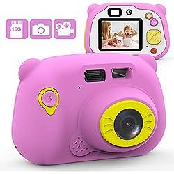 Mansso Appareil Photo pour Enfant, Caméra Selfie Rechargeable Numérique pour Enfants,Carte mémoire de 16 Go, Ecran à 2 Pouces,Objectif HD 1080P, Coque en Silicone Résistant aux Chocs