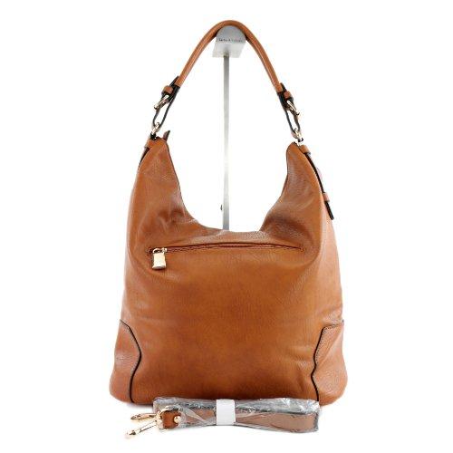 Handtasche Damentasche Tasche Tragetasche Damen Kunstleder Lederimitat LK6065 Hellbraun