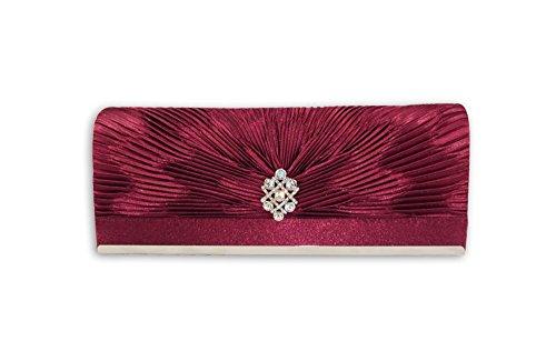 Party XPGG Good gift-Borsa da donna con tracolla, con scritta: evening Clutch bag-015 Nero (rosso)