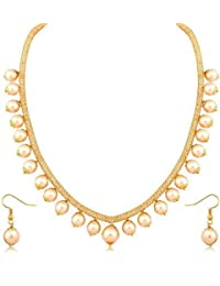 Adoreva Gold Plated Alloy Crystal Chain Pearl Antique Bollywood Fashion Necklace Earring Set