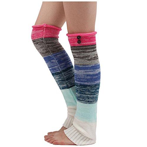 WRISTCHIE le donne knited colorato a strisce lungo pizzo scaldamuscoli per ragazze