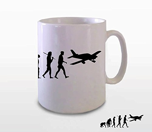 Flugzeug I Pilot Flieger Evolution BÜROTASSE BUEROTASSE TASSE KAFFETASSE MUG