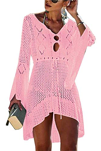 Voqeen Damen Strandkleid Bikini Cover Up Strandkleider Crochet Stricken Boho Strandponcho Sommerkleid Strand Bademode Sonnencreme Bluse Badeanzug Häkeln Kittel Sommer Hemdkleid Strandponcho Tunika -