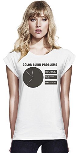 752642c8f794 Color Blind Problems Womens Continental Rolled Sleeve T-Shirt Large
