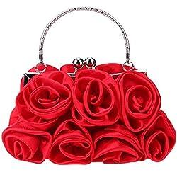 OneMoreT - Bolso de mano para mujer, elegante, con diamantes de imitación, diseño floral, rojo