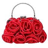 OneMoreT - Elegante borsetta da donna, in raso, con strass, borsetta da sera, a forma di rosa, per feste, matrimoni, Red