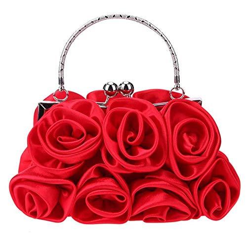 OneMoreT Elegante Damen-Handtasche aus Satin, mit Strasssteinen, kleine Abendtaschen, Rosen-Blumenmuster, für Partys, Hochzeiten, Handtaschen rot (Handtasche Satin Blume Weiße)