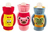 #3: Ole Baby Cute Face Soft Attractive Plush Velvet Milk Feeding Bottle Cover with Handle Twin Age 0-09 Months Dimension 16x10x6.5 cm Pack of 3