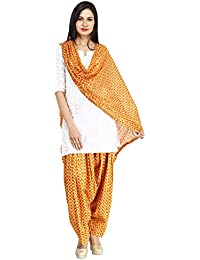 Funfabrics Women Cotton Solid Full Free Size Orange Designer Patiala Salwar Dupatta Set Cotton Patiala Dupatta