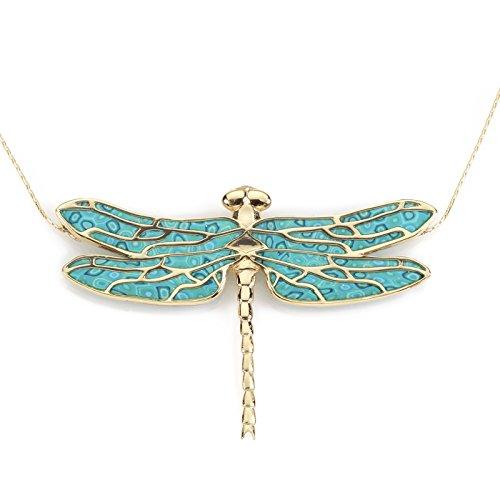Pendentif Libellule d'Or et Fimo - Collier de designer fait main - Bijoux fantaisie de qualité - Cadeau pour elle Turquoise