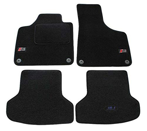 J&J AUTOMOTIVE | Logo Tapis DE Sol Noir Velours Compatible avec A3 8P 2004-2012
