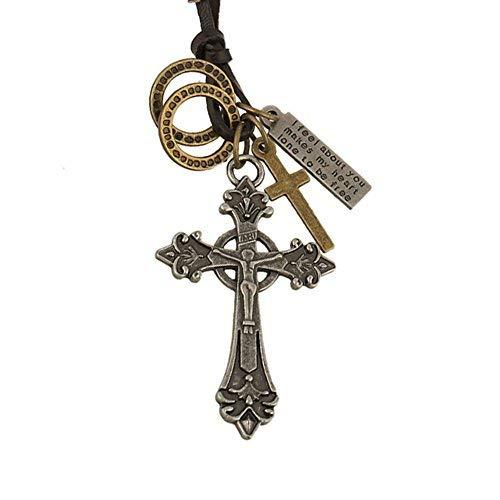 INEBIZ rétro Alliage Croix Crucifixion tissé de Vache de Voiture Charm Rétroviseur intérieur Décoration à Suspendre Pendentif Mode Collier, Silver