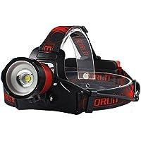 Boruit® Upgrated B13 Linternas Frontales LED Super Brillante 5000 Lumens, Zoomable & Recargable Micro/USB Interfaz con 2 * 18650 Baterías + UE Adaptador + Cable USB (Rojo)