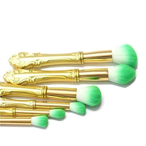 Sisit Outils de costume de brosse de maquillage de poignée d'épée de la Chine 6 pièces, brosse de maquillage de base (Vert)