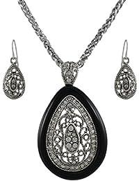 Plata y Negro Lágrima Rhinestone collar y pendientes colgantes set