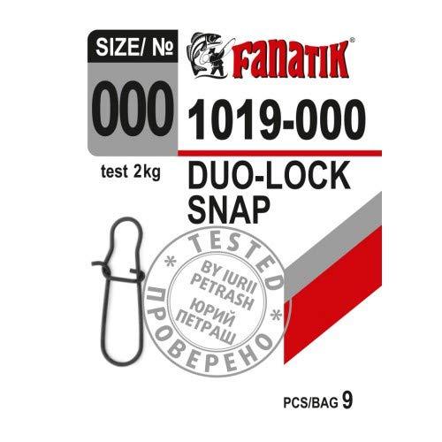 FANATIK Karabiner Duo-Lock 1019##000, 00, 0, 1, 2 Fast Lock snap Wirbel Angel (Schwarz, 000: 12mm - 2kg - 10 Stück) 00 Duo
