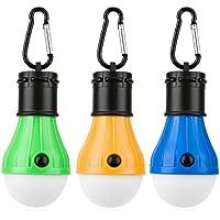 Portátil Bombilla LED para Cámping, VANWALK Al Aire Libre Impermeable A Prueba de Viento Colgando Linterna para Camping con Mosquetón Emergencia Ligero (Pack de 3)