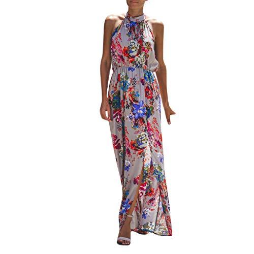 Saihui_Women Dress Damen Boho Maxikleid Sommerkleid ärmellos Strandkleid Sommerkleid Vintage Neckholder Blumenmuster Split Party Urlaub Lange Kleider für Damen -