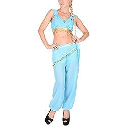 Arunta® Damen Bauchtanz Kostüm Set 4 Teilig Blau S/M