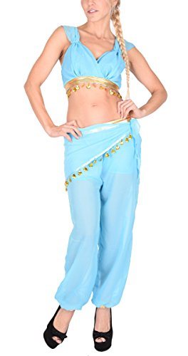 Arunta® Damen Bauchtanz Kostüm Set 4 Teilig Blau (Jeannie Outfit)
