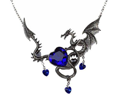 Halskette Antik Silber Ancient Dragon Anhänger Herz Form Saphire (Autos Party Favor Boxen)