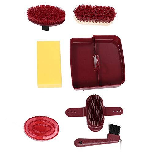 HEEPDD 6tlg. Pferdepflegeset Pferde kosmetisch Kit Reinigungswerkzeugset mit Aufbewahrungsbox Inklusive weicher Hartbürste PVC-Bürstenschwamm und mehr - Natürliche Kosmetische Schwamm