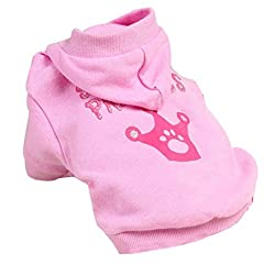 SODIAL(R) Dog Cat Clothes Jersey Knitwear Warm Vest for Dog Jacket Hooded Coat Dog Clothes (Pink, XS) from SODIAL(R)