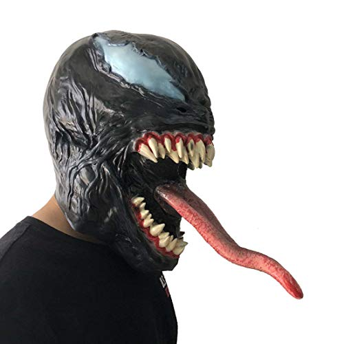 K-Y YK 2018 Movie Venom Mask Latex Props Halloween Dress Up Long Tongue Venom Horror Mask Extraordinary Spider-Man Mask Headgear (Long Tongue)