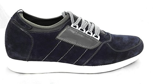 ZERIMAR Chaussures de sport d'intérieur avec augmente intérieur de 7 cm Fait de cuir de haute qualité 100% Peau Couleur Bleu marine Bleu Marine