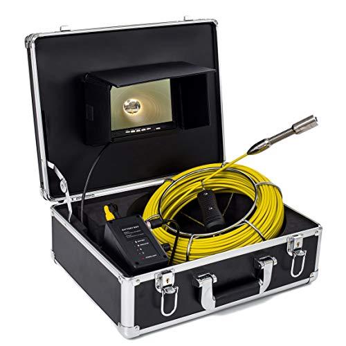 Cámara inspección de tuberías, Drenaje de alcantarillado Industrial endoscopio IP68 1000TVL cámara HD con Monitor LCD de 7 Pulgadas,20Mcable