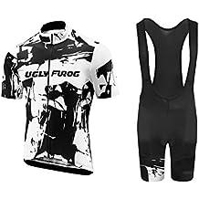 Uglyfrog 2018 Manga Corta Maillot Ciclismo+Bib Pantalones cortos Gel Pad Set De Hombre Verano Ropa De triatlon Transpirables ESHSJ01