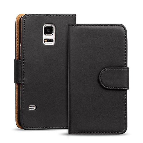 Samsung Galaxy S5 Mini Bookstyle Hülle, Conie Mobile PU Leder Schutzhülle Handytasche Bookcase Tasche Premium Klapphülle in Schwarz