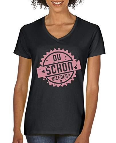 Comedy Shirts - Du Schon Wieder - Stempel - Damen V-Neck T-Shirt - Schwarz/Rosa Gr. L - Wieder Damen Rosa T-shirt