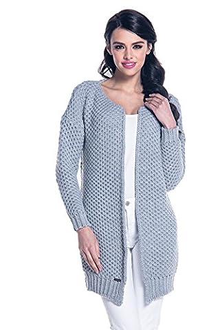 Stylischer Cardigan Strickjacke für Damen im Oversize-Look in Schwarz, Grau, Beige, Blau