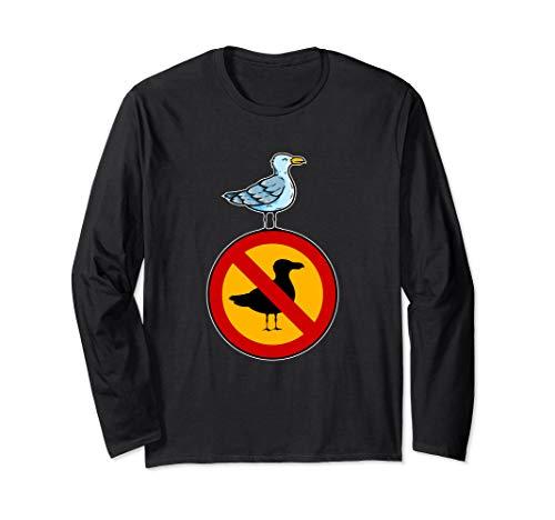 Freiheit über Verbote - Möwe auf einem Verbotsschild Langarmshirt
