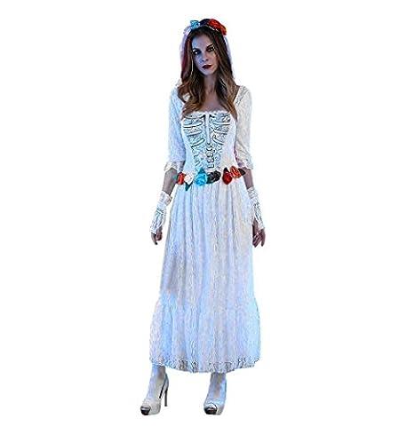 Zombie Braut Damenkostüm Halloween,ZEZKT 2017 Zombie Kostüm Damen Braut Skelett Brautkleid Damen Kostüm inkl Schleier mit Tüll und Handschuhe