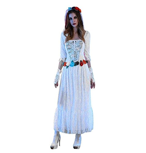 Zombie Braut Damenkostüm Halloween,ZEZKT 2017 Zombie Kostüm Damen Braut Skelett Brautkleid Damen Kostüm inkl Schleier mit Tüll und Handschuhe (Halloween 2017 Kostüme)