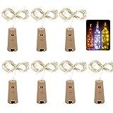 10 Stück Flaschenlichter 20 LEDs Nacht Licht Weinflasche Hochzeit Party Garten Weihnachten Deko (Warmesweiß)