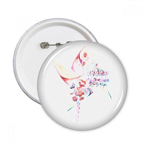 DIYthinker Karussell, Windmühle Lollipop Aquarellzeichnung rund Pins Badge Button Kleidung Dekoration Geschenk 5X m mehrfarbig