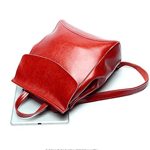 Bedolio Mode Öl Wachs Leder Umhängetasche Damen Big Bag Rucksack Retro Handtasche (Größe: 23cm * 10cm * 30cm), weinrot -