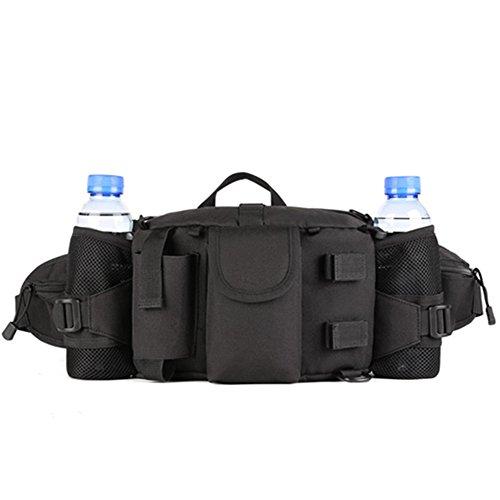 OneTigris Outdoor Multifunktionale Hüfttasche Gürteltasche mit 2 Flaschen-Beutel (Schwarz)