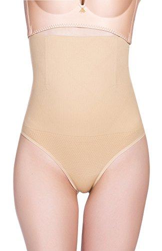 Aivtalk - Tanga Braguitas Reductoras Faja Moldeadora de Abdomen Cintura Alta para Mujer Posparto - Color de Piel - Talla ES M