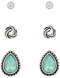 """SIX SALE """"Basic"""" klassischer 3er Pack Ohrstecker Set Damen Ohrringe in silber und hellblau türkis Tropfenform (484-198)"""