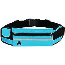 Cintura Bolsa, Correr Bolsa Cinturón Deportivo Cintura Deporte Bolsa paquete de la cintura del vago de la Bolsa de Running Ciclismo Senderismo Trekking (Azul)