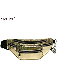 Buyworld Fashion Unisex Shining Pu Chest Bag Pack Brands Laser Chest Pack Punk Designer Waist Bag For Men Women...