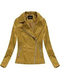 6645c7e6016b09 Yam Yam Fashion Damen Kurzjacken Bikerjacke Senf (5326big) Kr-5326big-Muszt