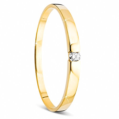 Orovi Damen Verlobungsring Gold Solitärring Diamantring 14 Karat (585) Brillianten 0.035carat GelbGold Ring mit Diamanten