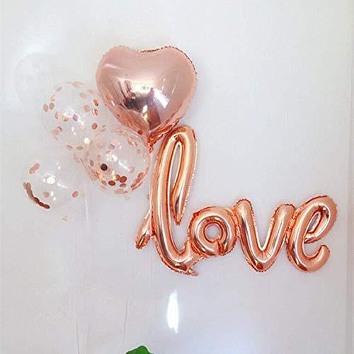 ie Konfetti Ballon Bouquet für Verlobungsfeier Dekorationen | Babyparty Dekorationen | Rose Gold Ballons | Rose Gold Herz | Liebesballon (16 Pack) ()