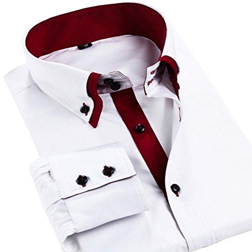 Sanke Chemise Homme Slim Fit manches longues double boucle double col Blanc/Rouge